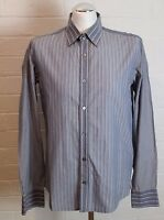 TED BAKER Mens Long Contrast Sleeved Blue Striped SHIRT - Ted Size 4 - Large - L
