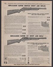 1944 Benjamin Super Single Shot Air Rifle Print Ad Breech and Autoloading