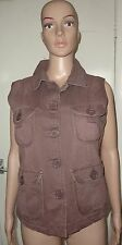 SIZE 12 TONE CLASSIC,MILITARY STYLE BROWN WAISTCOAT, BNWT, 100% COTTON