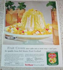 1958 print ad - Del Monte Fruit Cocktail crown cake-pudding lemon sauce recipe
