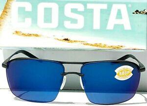 NEW* Costa Del SKIMMER Black Aviator POLARIZED Blue Mirror 580P Sunglass SKM 11