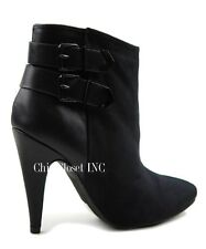 Women Sexy Black High Stiletto Heels Almond Toe Buckle Ankle High Booties Boots