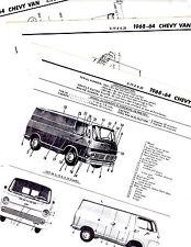 1964 1965 1966 1967 1968 CHEVROLET VAN G10 G20 MOTORS FRAME CRASH SHEETS M ORIG