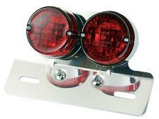 NEW REAR STOP/TAIL MOROTCYCLE MOTORBIKE LIGHT TWIN CHROME SURROUND E-MARKED