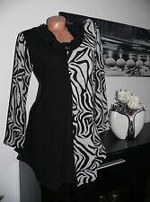♥ NEU Retro Tunika Zebra Zipfel A-linie schwarz langarm 42 44 46 48 gr ♥