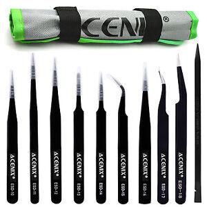 ACENIX® 10 Pcs Set Professional Precision ESD Anti-Static Tweezers + Black Nylon