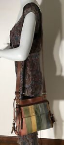 Unusual Vintage Fossil 75082 Striped Suede and Leather Shoulder Bag Purse