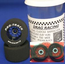 "Pro Track ""Turbine Black"" 1 1/16"" x .700 wd Matching Rr & Ft 1/24 Slot Car Drag"