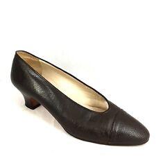 Vintage CHANEL Pump Lizard Reptile Leather Dark Brown 9.5 10 Cap toe Italy Heels