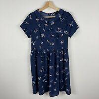 Dotti Womens Dress 8 Blue Floral Short Sleeve Zip Closure Sailor Collar