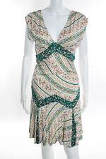 Diane Von Furstenberg Ivory Multi-Color Floral Striped Silk Dress Size 10