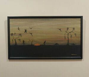 VINTAGE Tommy Crow Sunset Dreaming Indigenous Artwork CAN BE MAILED