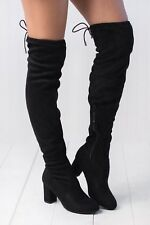 NEW Faux Suede Drawstring-Tie Over The Knee OTK Boot Slouch Med High Chunky Heel
