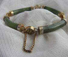 Vintage Chinois plaqué or Jadeite Jade Bracelet avec chaîne de sécurité