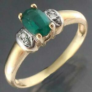 Modern Solid 9k Yellow GOLD Oval Green EMERALD SOLITAIRE & 2 Diamond Accents Sz