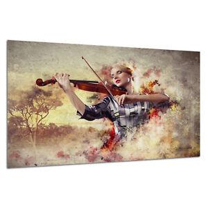 Wall Art Photo Print Picture Tempered Glass Woman Music Violinist Prizma GWA0325