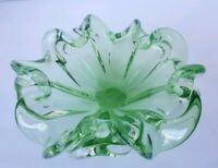 Arte Murano Icet Sommerso Style Green Glass Ruffled Candy Dish Ashtray Bowl