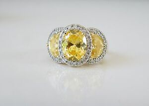 14K Yellow Gold Sterling Silver 7ct Canary Yellow CZ Trilogy Halo Ring Size 9