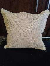 """Crochet   handmade 12""""x 12""""Cushion Cover in beige color"""