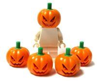 Lego 5 Pumpkin Head Headgear Jack O Lantern Halloween Monster Minifig Not Inc