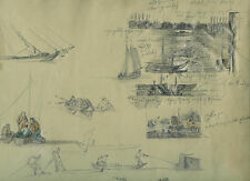 Janz Jantz Philipp Mainz 1813-1885 disegno porto navi Düsseldorf Schirmer