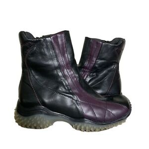 Silpa Italy Women's Size 39 Short Black Purple Leather Ankle Boots Goth Punk Emo