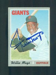 1970 Topps Baseball Card #600 WILLIE MAYS Autographed In Blue Felt Tip CLEAN wow