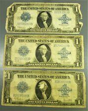 "Lot: 3 Series 1923 $1 ""Horseblanket"" Silver Certificates"