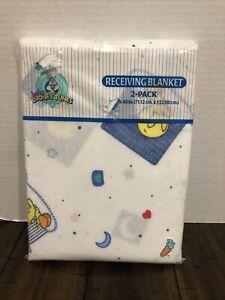 2 NEW Baby Looney Tunes Receiving Blanket Flannel Bugs Tweety Flannel 1998 USA