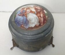 Vintage Metal Powder Music Box Classic Porcelain Inlay Musical Box