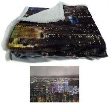 Sherpa Fleece Super Soft City Scene Throw Reversible Bed Blanket 130cm X 160cm Hong Kong Skyline