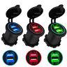 5V 4.2A Dual 2 USB Charger Socket Adapter Power Outlet 12V 24V Car Motorcycle US