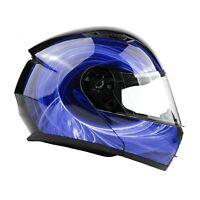Modular Helmet Flip Up Motorcycle Adult Blue Swirl DOT Integrated Sun Visor