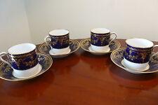 4 x Antique Spode Copeland's Demitasse Cups/Saucers C1891-20th Century Blue/Gold