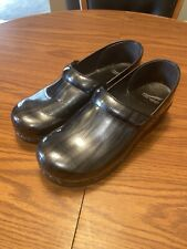 "DANSKO Women's ""Professional"" Eel Skin Patent Leather Charcoal Clogs Size 41"