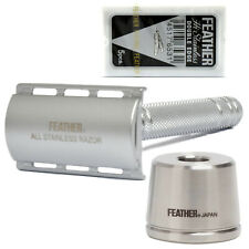 Feather AS-D2S Double Edge Safety Razor All Stainless Steel with Stand