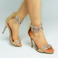 Women's Summer Peep Toe High Heels Rhinestones Summer Sandals Wedding Size 35-47