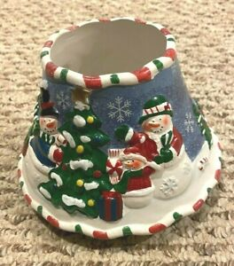Yankee Candle Topper Christmas Tree Snowman Candleland 2010 shade