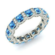 3.88 Ct Certified Real Diamond Blue Topaz Band 14K White Gold Ring Size M N O P