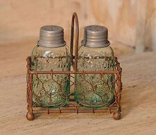 Chicken Wire Caddy with Miniature Mason Jar Salt & Pepper Shakers