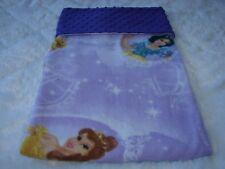 Princesses On Lilac Fleece Purple Minky Reversible Handmade Blanket