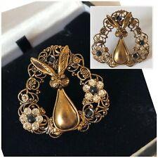 Vintage Jewellery Gold Filigree Rabbit Crystal Flower Brooch Pin Signed Germany