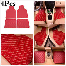 4Pcs Red PU Leather Car Front Rear Floor Mats Carpet Non-slip Custion Waterproof