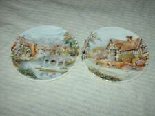 More details for 2 x poole pottery plates the manor house & river bridge 15.5 cm wide