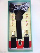 Baby Toddler Kids Child Plaid Tartan Black Suspenders Bow Tie Gift Box Set