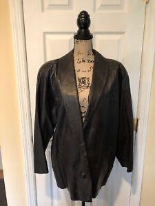 Saks Fifth Avenue Vintage Women's Leather Jacket Coat Blazer Style Size 10 EUC