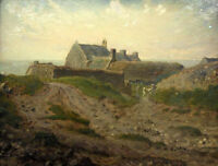 Oil painting Millet Priory at Vauville, Normandy - landscape canvas 36""