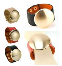 Round Chunky Bracelet Women Genuine Leather Cuff Snap Bangle Simple Wristband