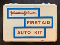 Vintage Johnson & Johnson First Aid Auto Kit with Original First Aid Guide