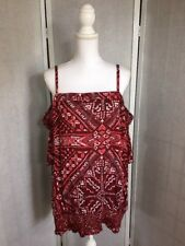 Cato Womens Plus Size 26/28 Red White Floral Cold Shoulder Rayon Top NWT